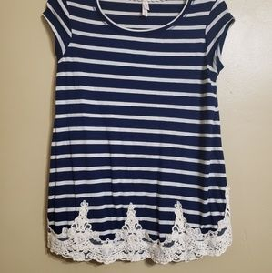 Xhilaration stripped blue lace trim top